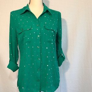 Kim Rogers Green Long Sleeve Blouse